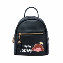 BOLSO MOCHILA 22X20 PRINCESS ENJOY YOUR DAY NEGRO 498910