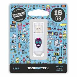 MEMORIA (++) USB 2.0 TECHONETECH 16GB CALAVERA MAYA