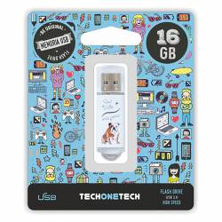 MEMORIA (++) USB 2.0 TECHONETECH 16GB QUE VIDA MAS PERRA