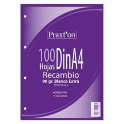 RECAMBIO A4 100H 90G PRAXTON 4T HORIZONTAL