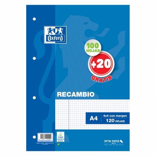 RECAMBIO A4 100+20H 90G OXFORD 4T 4X4