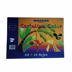 BLOC CARTULINAS A3 MARGOK COLORES 10H P/10U