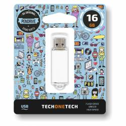 MEMORIA (++) USB 2.0 TECHONETECH 16GB BLANCA