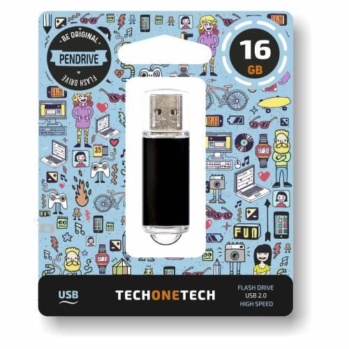 MEMORIA (++) USB 2.0 TECHONETECH 16GB NEGRA