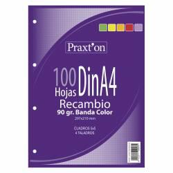 RECAMBIO A4 100H 90G PRAXTON 4T 5X5 5 COLORES