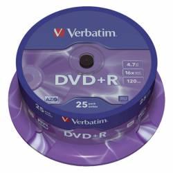 DVD+R (++) VERBATIM 16X 4.7GB TARRINA 25U